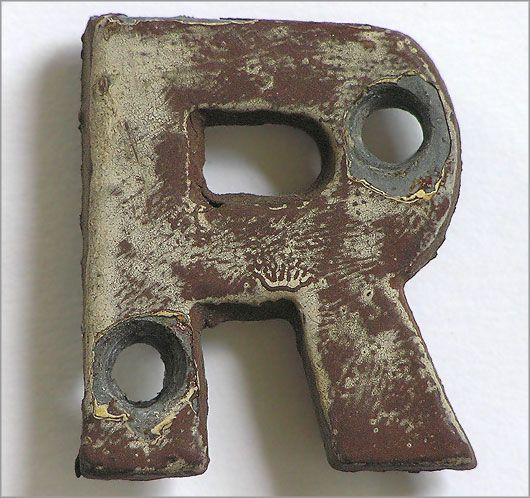 Small Victorian Cast Metal Railway Sign Letter R  Totally