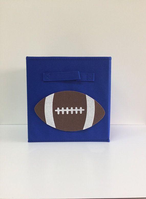 Football Cube Storage Bin 11 Fabric Cube Toy By SewFreakinAwesome, Kids  Storage, Nursery Décor