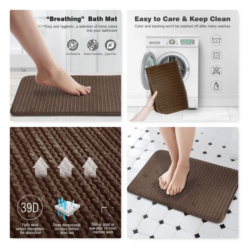 Luxurious Speed Dry Bath Rug Memory Foam Bathroom Shower Mat Non
