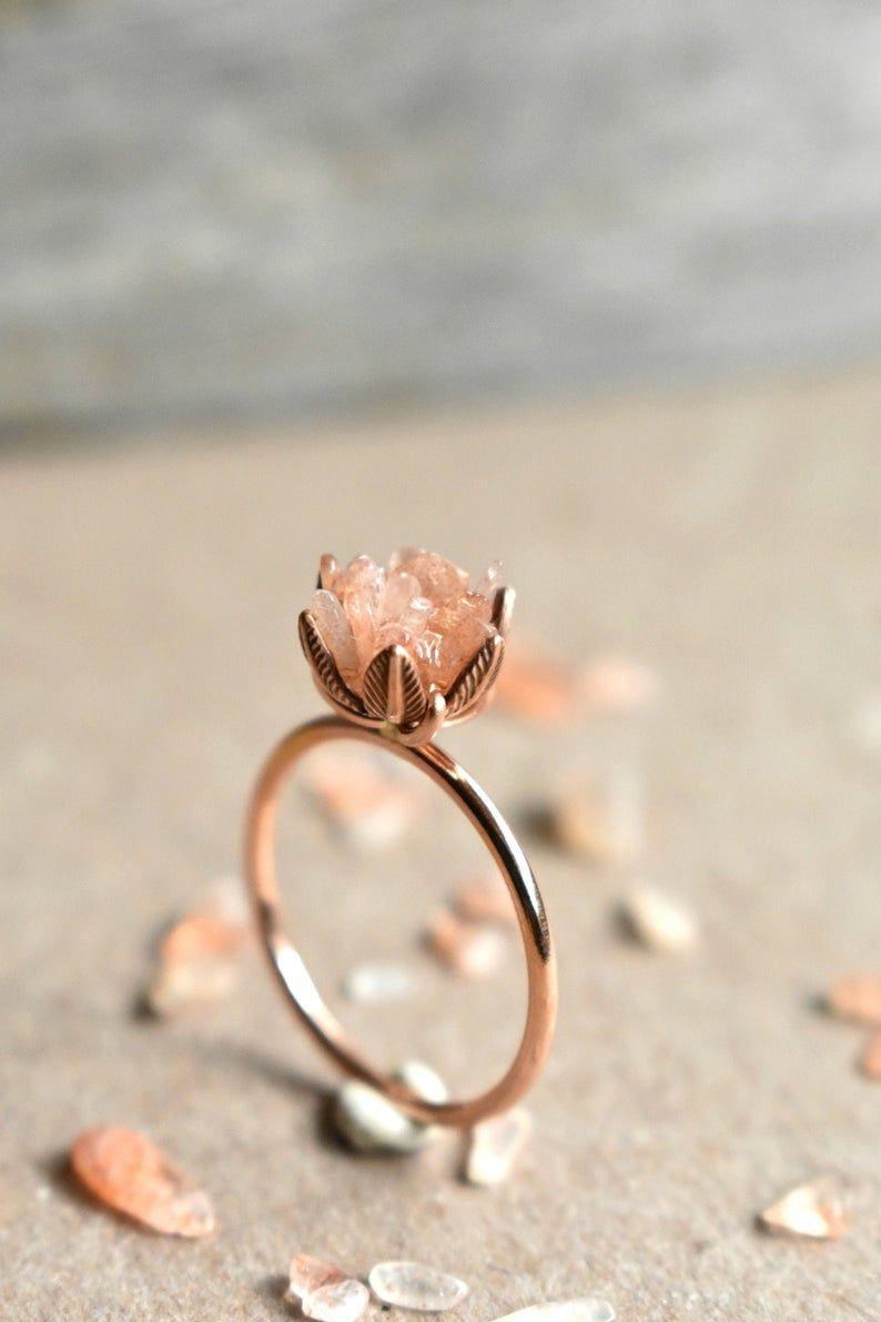 Einzigartige Pfirsich Mondstein Ring Lotus Blumenring in 14K | Etsy