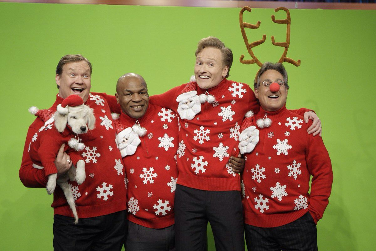 Celebrities in ugly Christmas sweaters-Conan O Brien, Andy Richter, Mike  Tyson, Max Wineberg 28243b3807