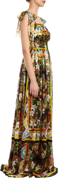 Dolce & Gabbana Floralprint Tieshoulder Floorlength Gown in Floral - Lyst     jaglady