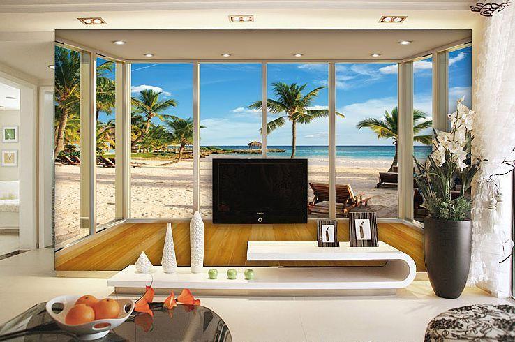 3D Fenster Strand Fototapeten Wandbild Fototapete Bild Tapete