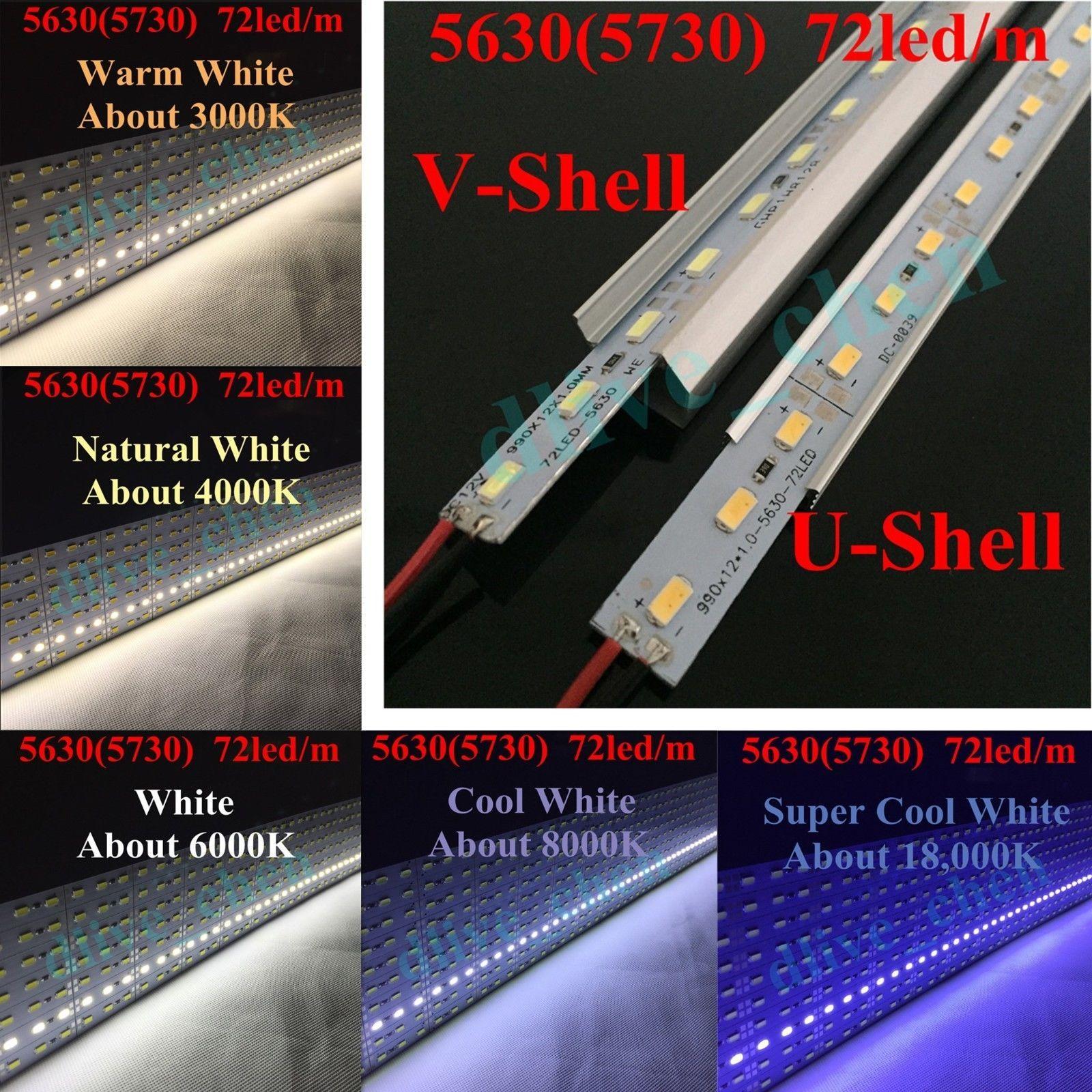 1m 0.5m 0.25m 5630 12V Led Strip Light White Rigid Bar Aluminum Shell Cap 5730