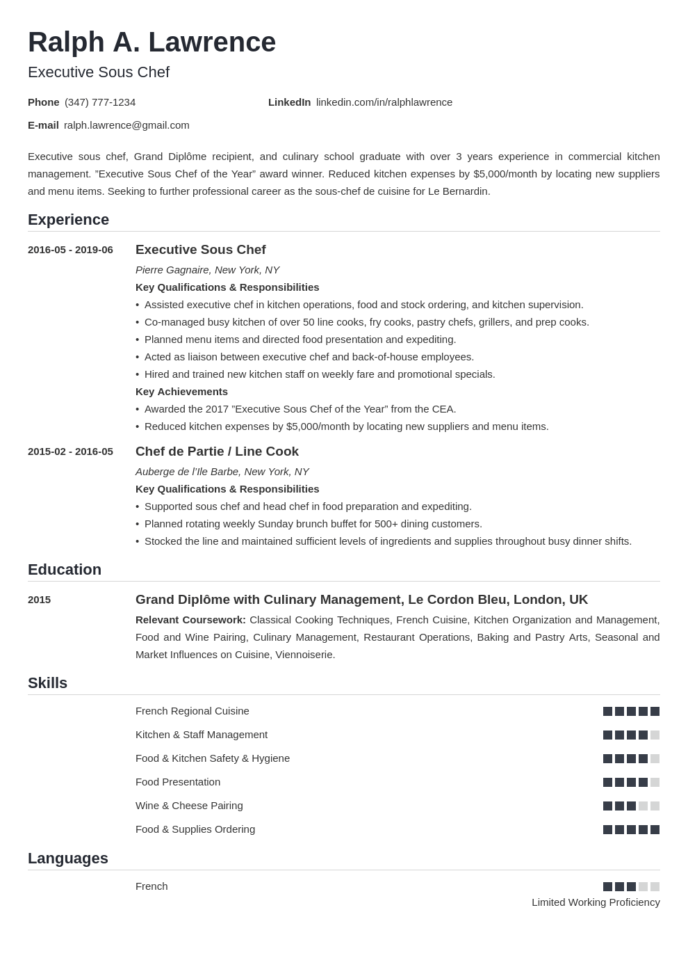 Sous Chef Resume Example Template Nanica Chef Resume Job Description Template Chef Job Description
