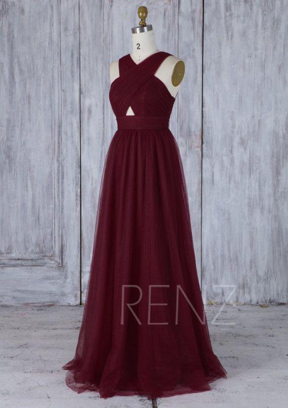 Wine Tulle Bridesmaid Dress, V Neck Wedding Dress, Open Back Prom ...