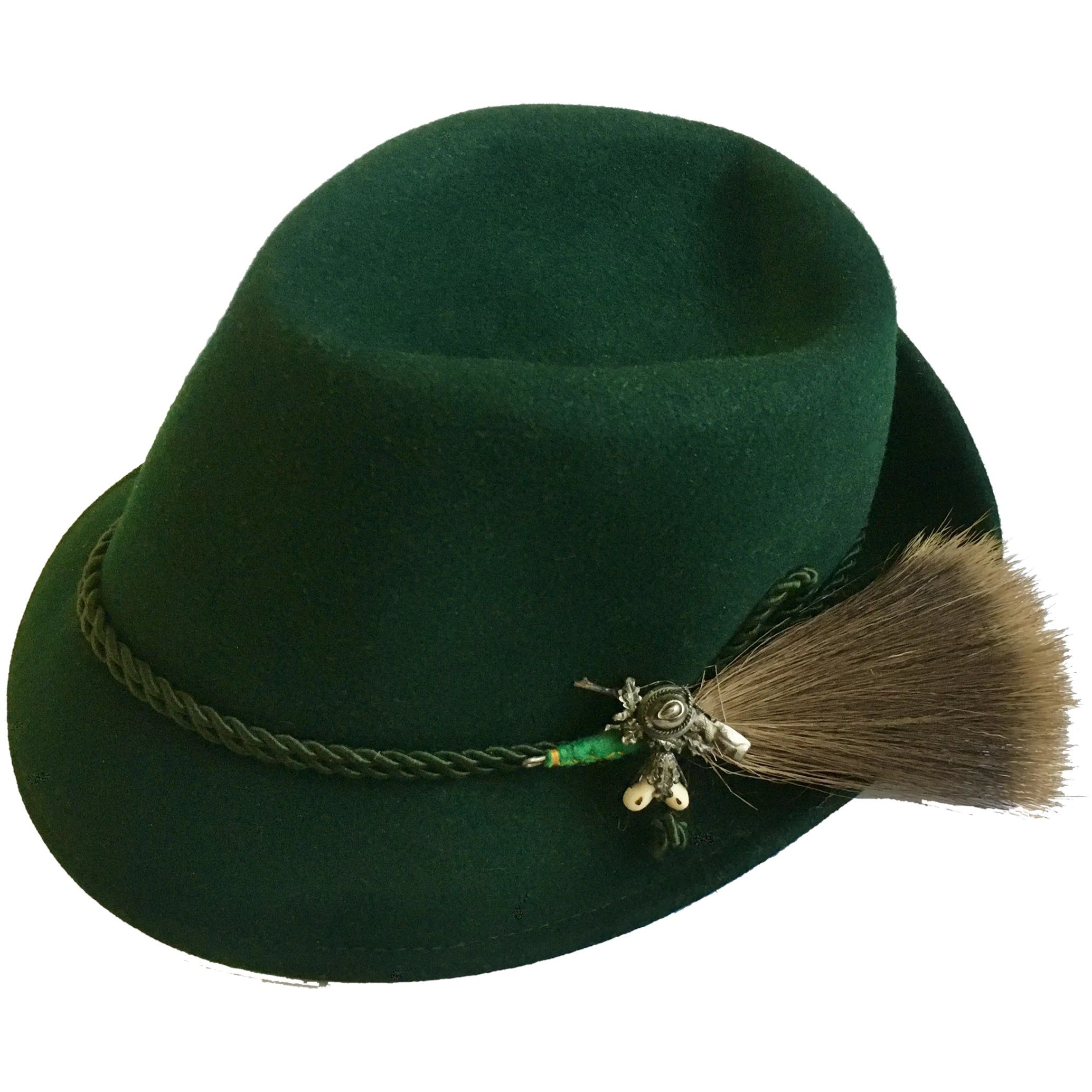 This Is A Very Nice Vintage Dark Green Felt Alpine Hat It Has A Pewter Hunting Pin With A Gamsbart Hair Brush Attached To The Side Hats Elegant Hats Dirndls