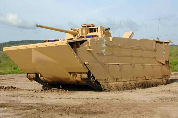 The Expeditionary Fighting Vehicle had its fifteen minutes of fame when 2008 presidential candidate John McCain cited the amphibious assault vehicle as the basis for a costly program that was wasting billions of taxpayer dollars. Developed for the US Marine Corps, it is deployed at sea and transports a full marine rifle squad to shore, then operates on land with the full capabilities of a tank.