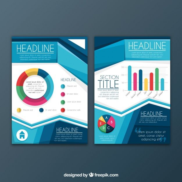Geometric Brochure Template With Colored Graphs Free Vector  Free