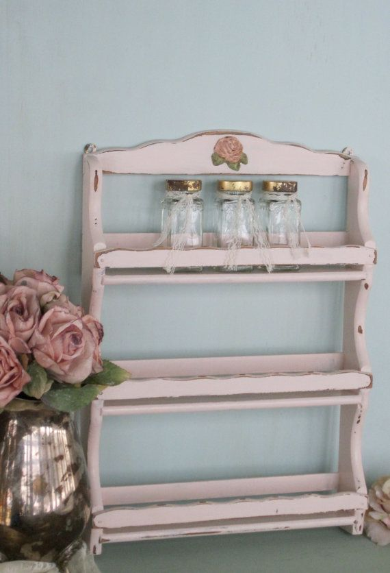 Shabby Pink Spice Rack Distressed Upcycled Vintage By Fannypippin Spice Rack Wooden Spice Rack Wall Spice Rack