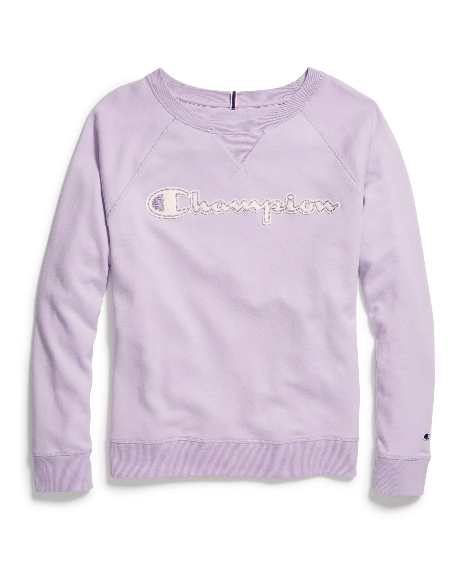 Champion Women S Athletics Heritage French Terry Crew Chainstitch Logo Pale Violet Rose In 2020 Champion Sweatshirt Sweatshirts Women Fashion Logo [ 2410 x 1900 Pixel ]