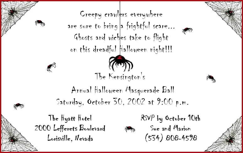 halloween poem to go on a invitation Halloween Invitation Wording