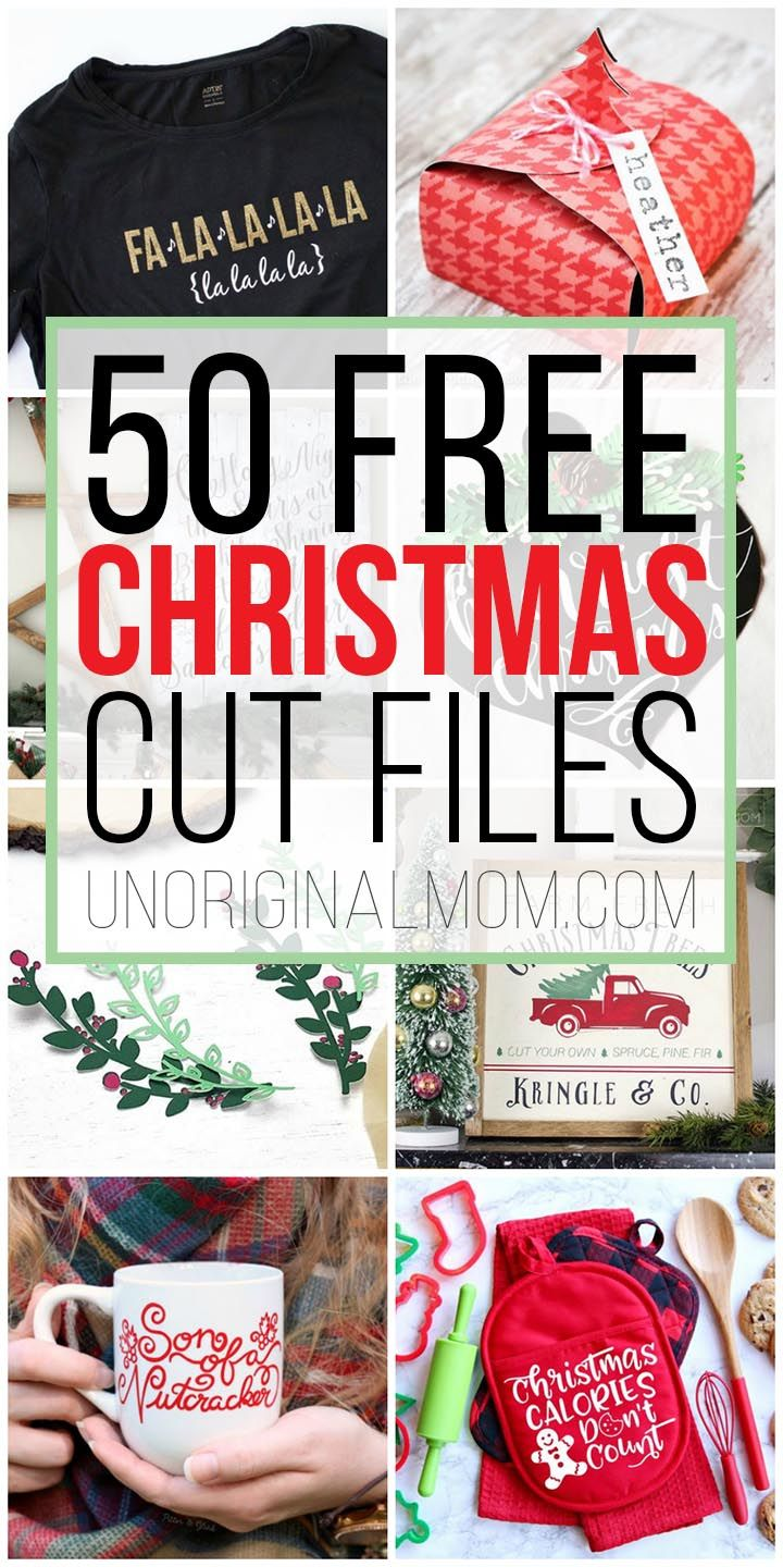 50 Free Christmas Cut Files for Silhouette and Cricut! #cricutexploreair2projects