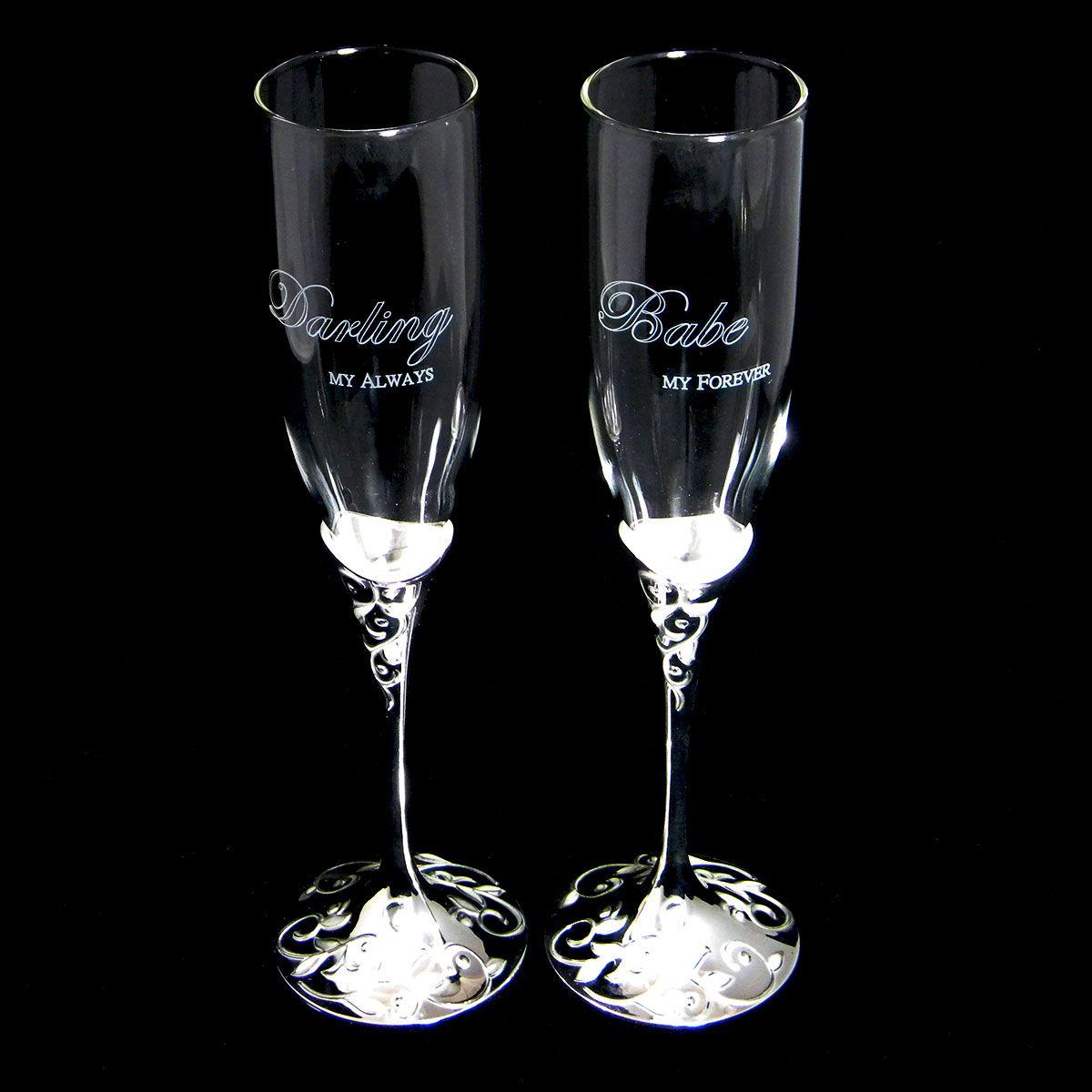 Custom engraved toasting flutes for weddings