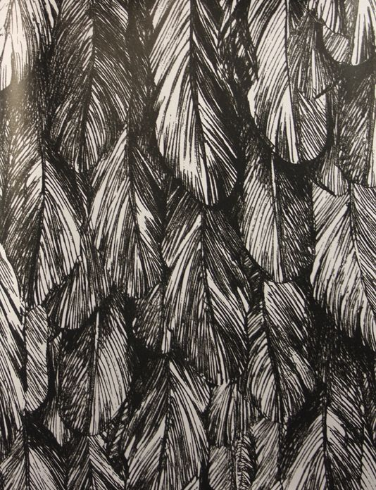 quill wallpaper a feather design in black printed on a