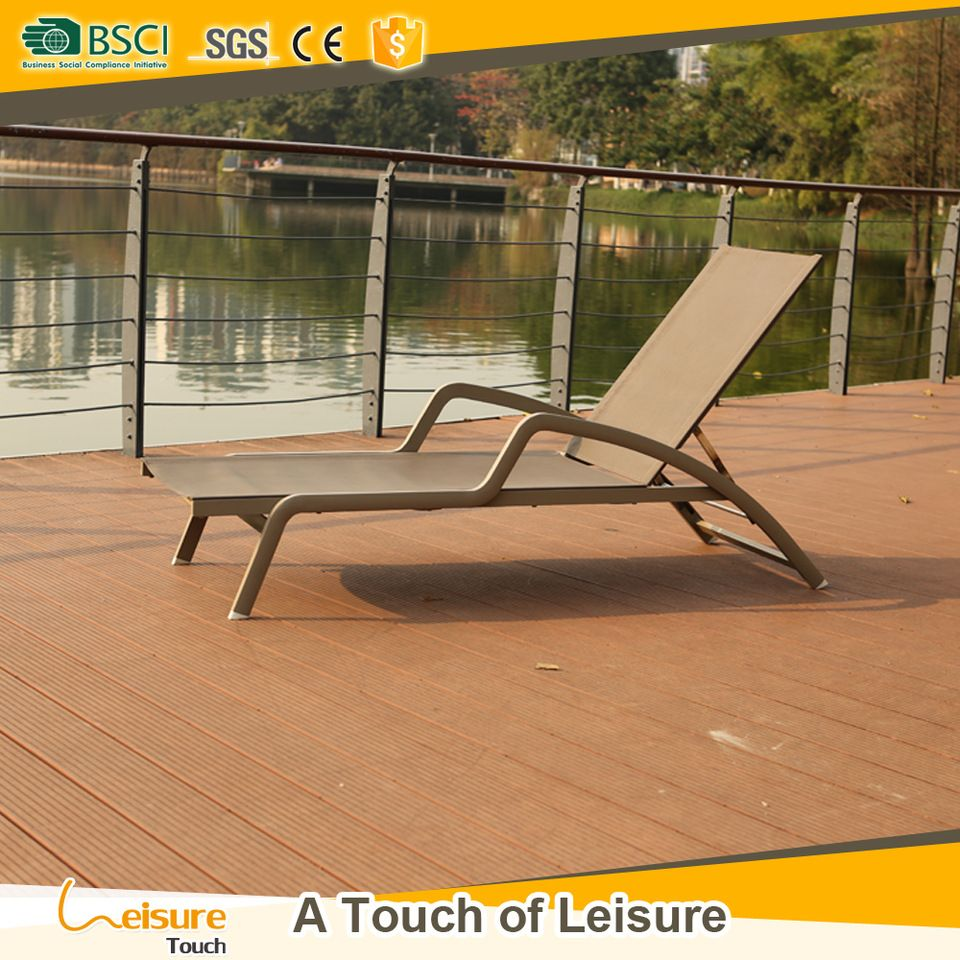 Newcastle aluminum sling lounge chair used home or hotel sunlounger ...