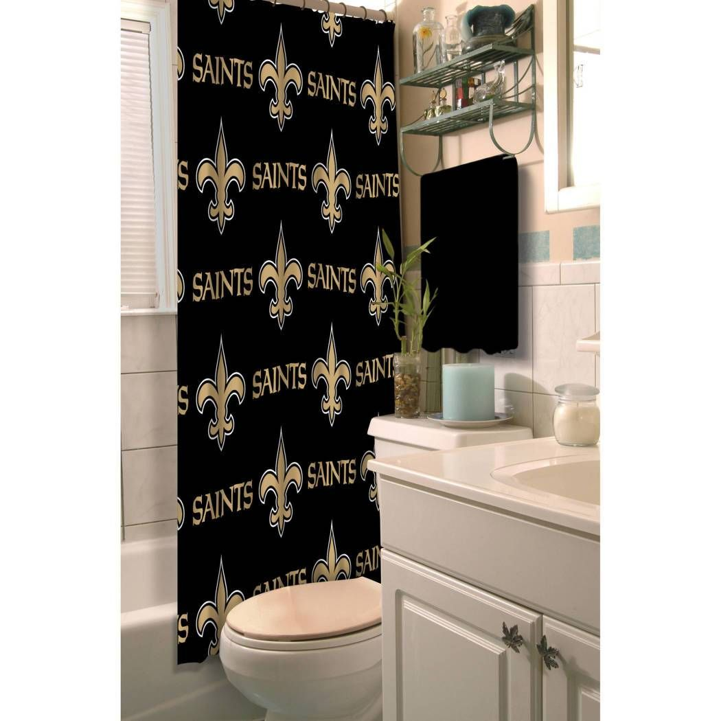 Nfl saints shower curtain x inches football themed in