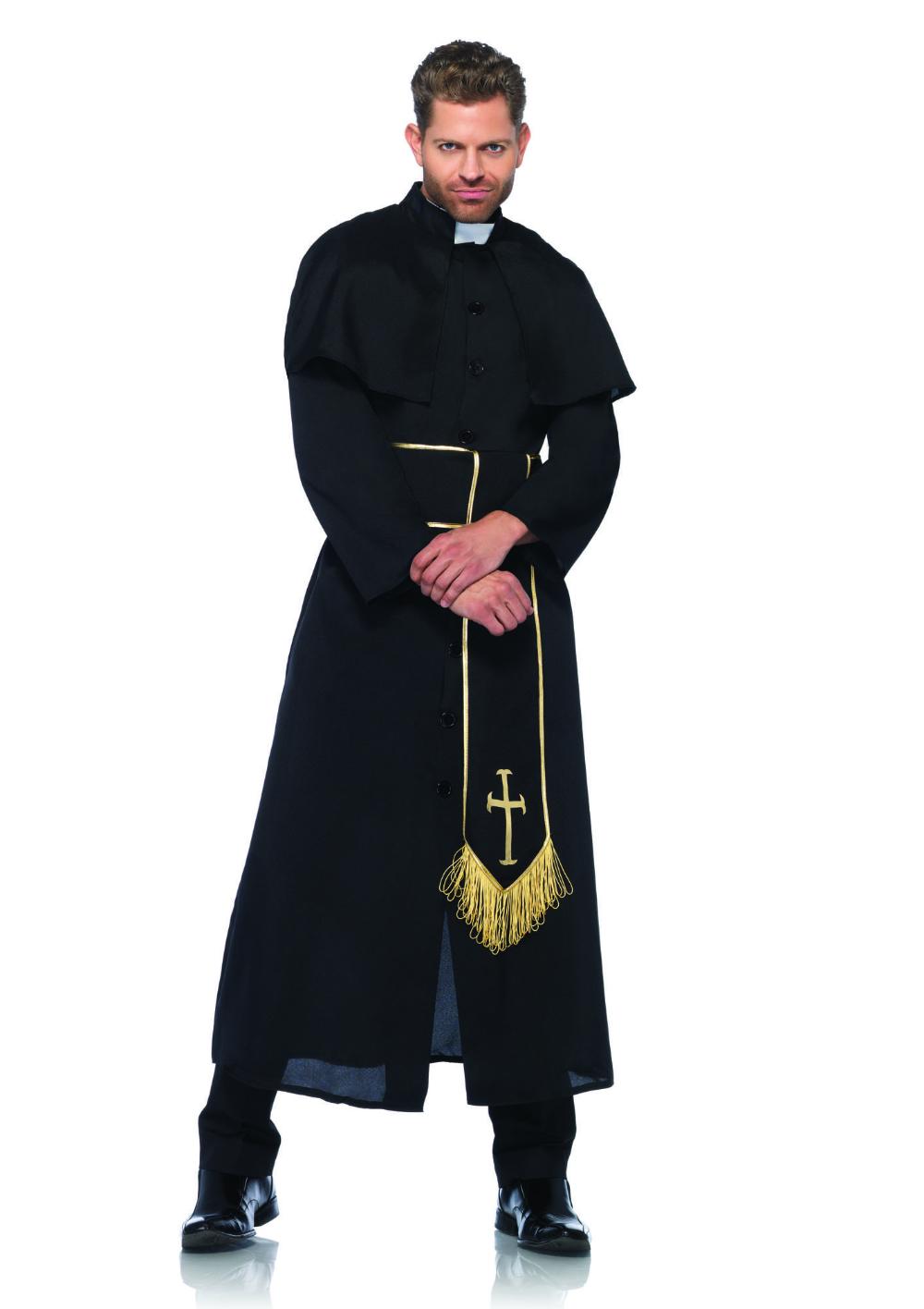 Catholic Priest Mens Robe /& Clerical Collar Funny Halloween Spiritual Costume