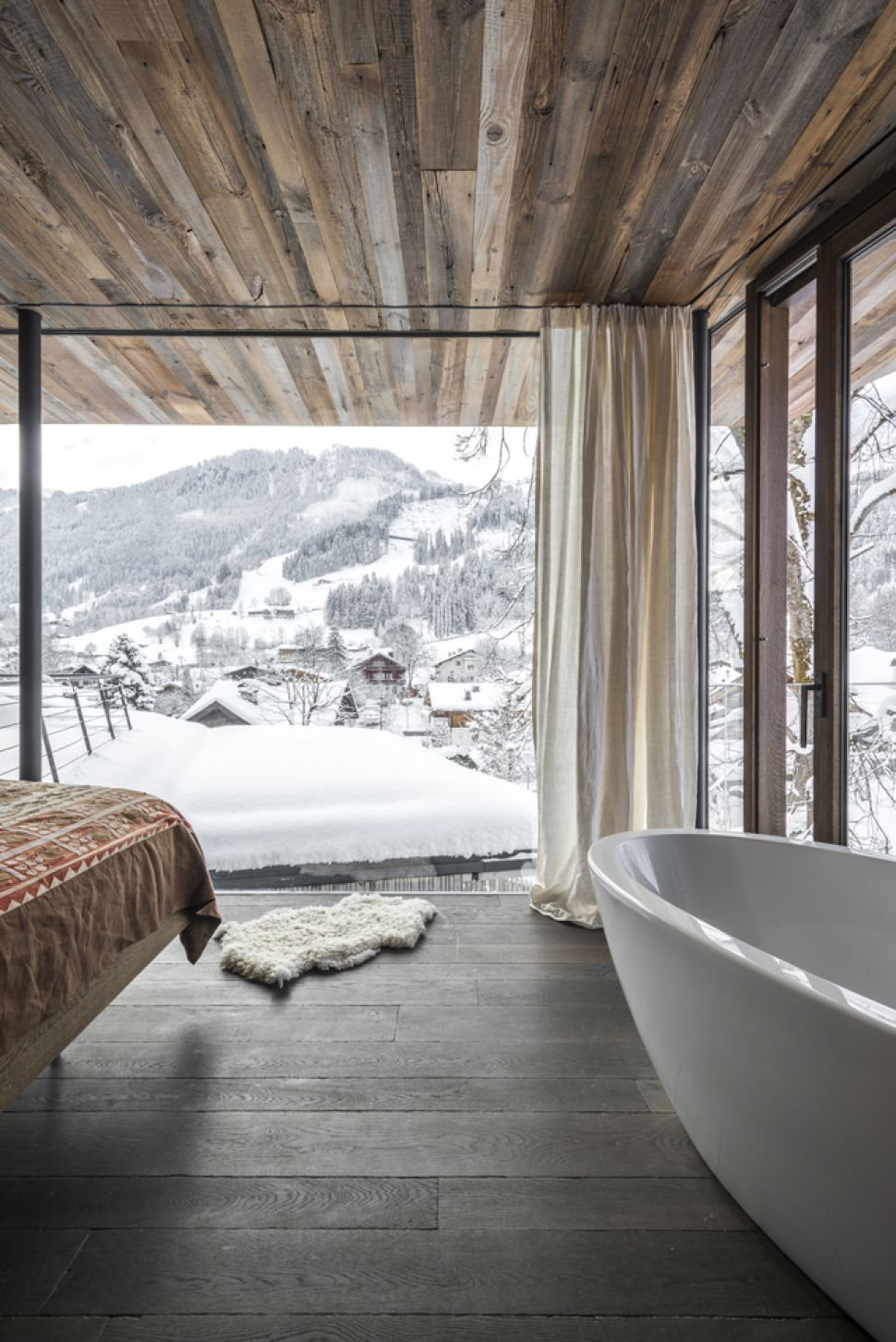 We visit a winter wonderhome in austria a traditional tyrolean ski chalet expanded into an adjoining modern extension
