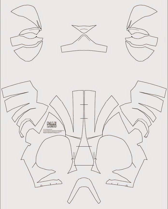 Deadpool Semi Rigid Costume Mask Diy Pdf Template Deadpool