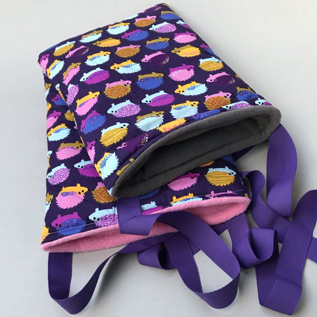 Purple hedgehog padded bonding bag, carry bag for