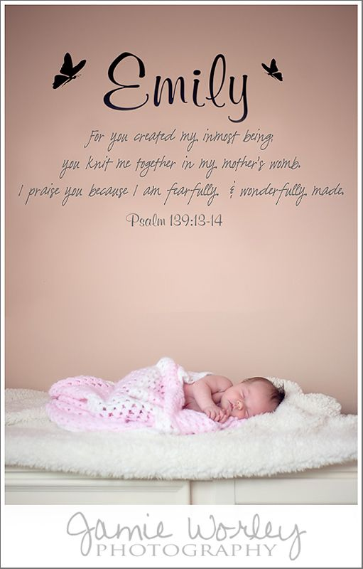newborn baby with Bible verse on nursery wall | House