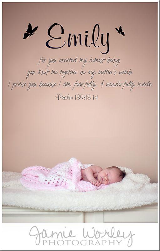 Newborn Baby With Bible Verse On Nursery Wall House Nursery