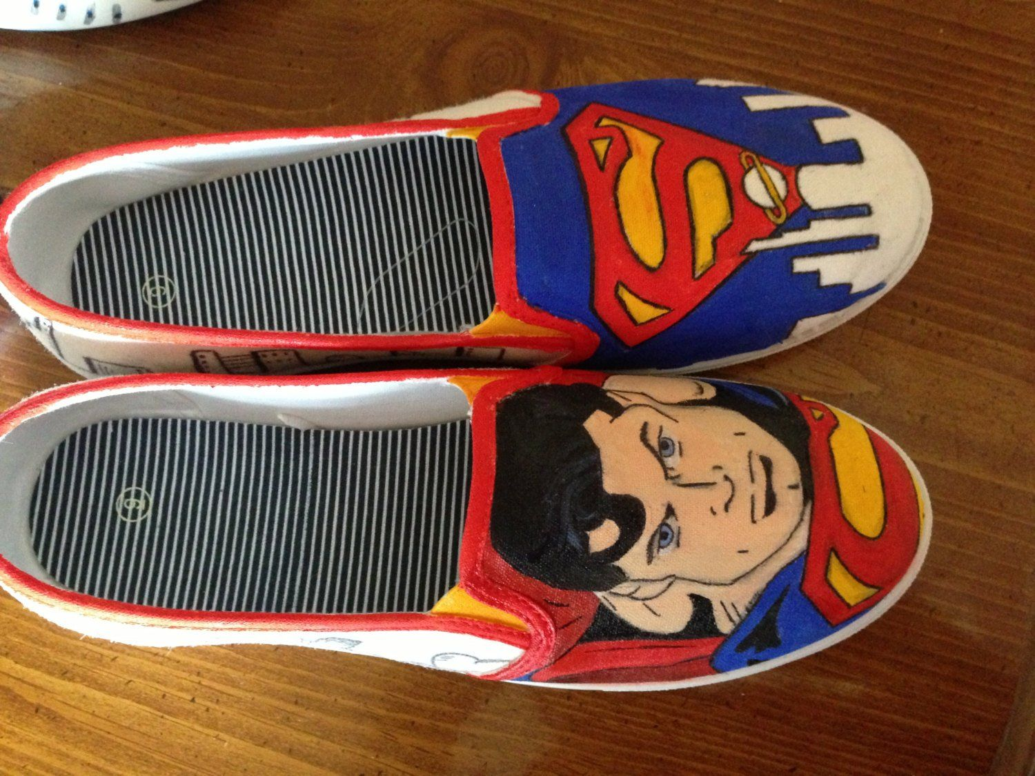 60ca75b34be6 Superman Painted Shoes - Custom - Hand Painted - Man of Steel - DC ...