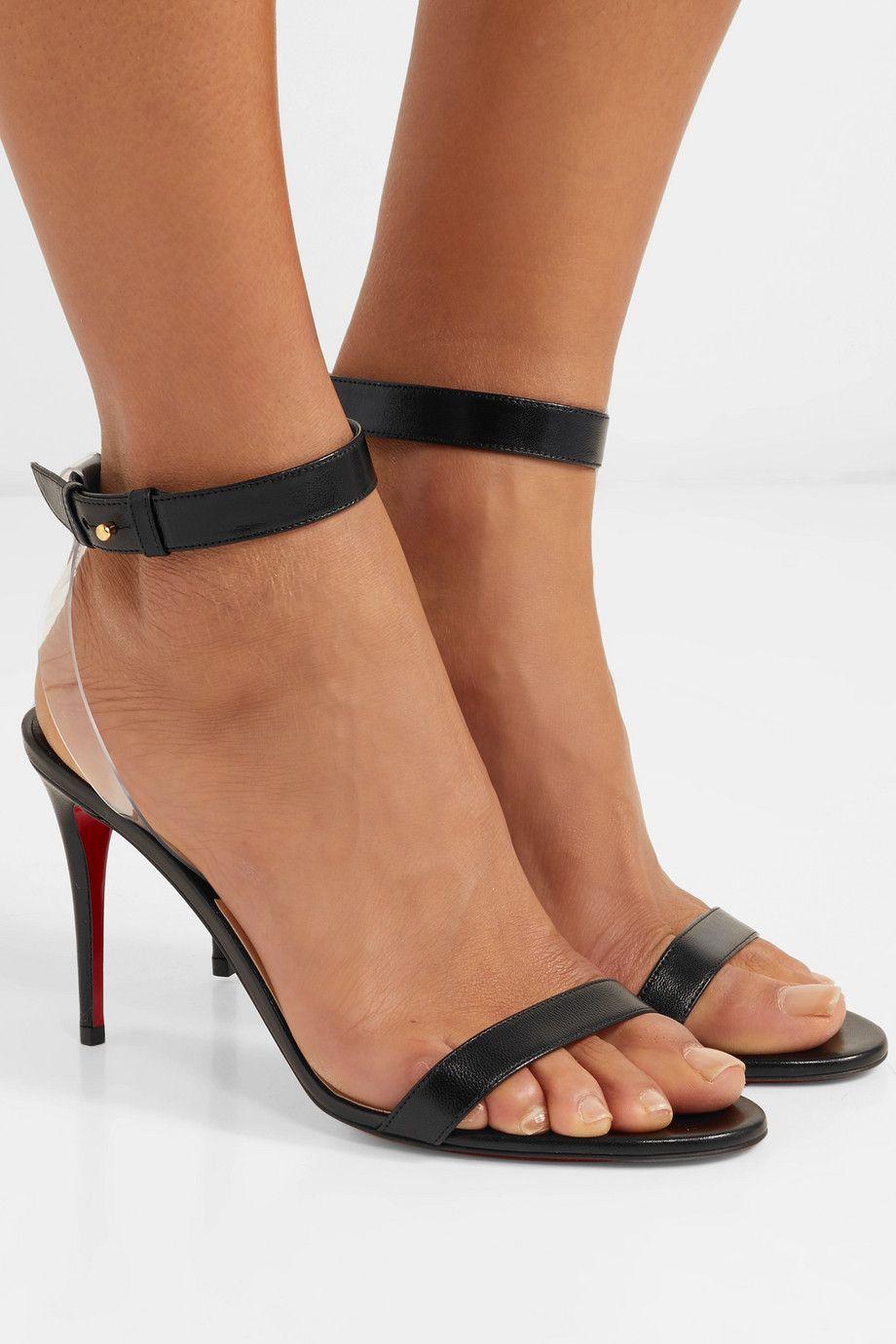 ad48557c6bb Christian Louboutin | Jonatina 85 PVC-trimmed leather sandals | NET ...