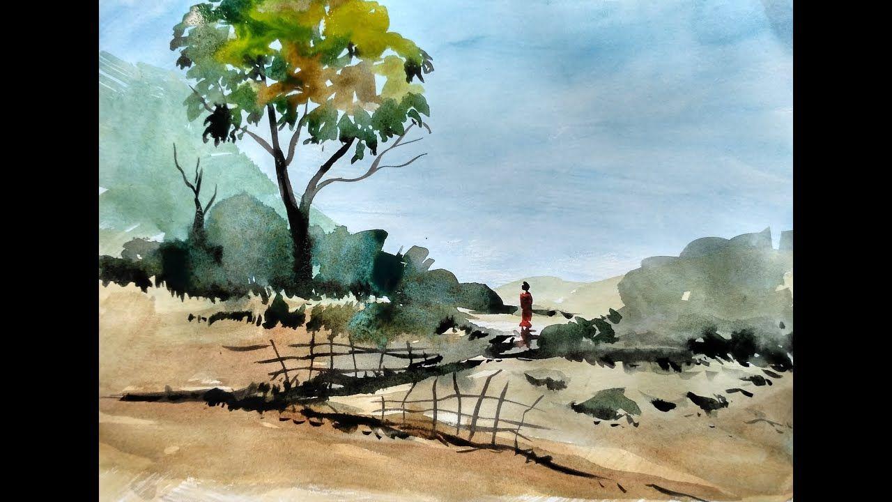 Ganz Einfach Malen Lernen 3 Einfache Landschaft In Aquarell