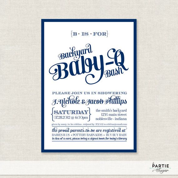 Backyard Baby Q Bash Shower Invitations   Available In Navy, Coral And  Emerald