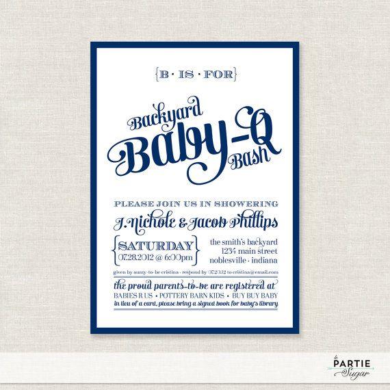 backyard babyq bash shower invitations available by lepartiesugar, Baby shower invitations
