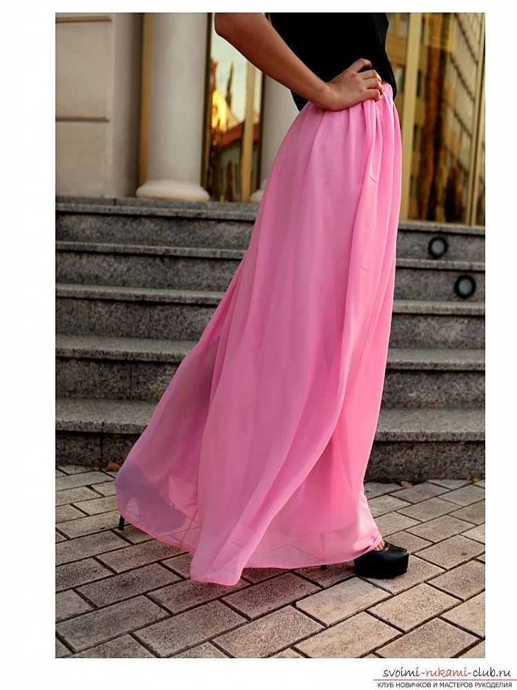 7c3ffc52e067b44 Как сшить яркую летнюю юбку в пол из шифона по профессиональной выкройке.  Шьем поэтапно юбку