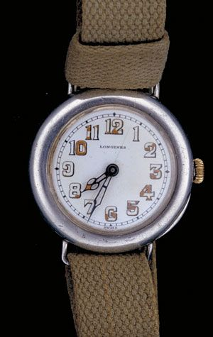 Wristwatches grew in popularity—first as a sporty alternative to dress pocket watches, and later as a quick-to-use timepiece for modern people on the go. This one is from about 1915.