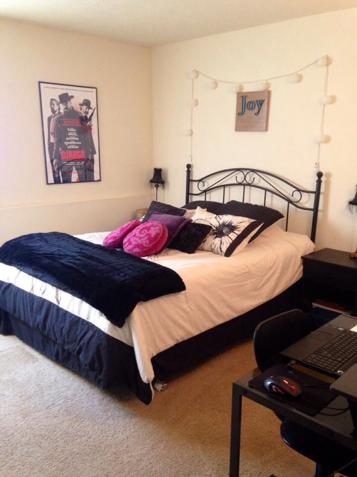 My bedroom. I adore it. I have different bedding I switch out for different looks. I love that Django Unchained poster.