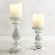 Gray Cement Pillar Candle Holders
