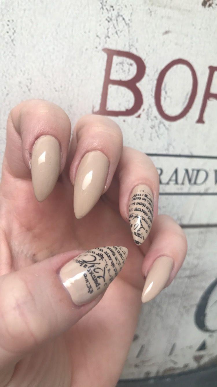 stiletto #nails #pointy #beige #neutral #script   My nails ...