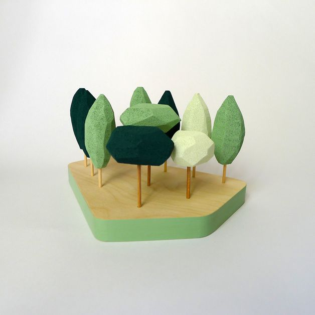 Ornaments – Miniature tabletop forest in shades of MINT green. – a unique product by Fragiletaller on DaWanda