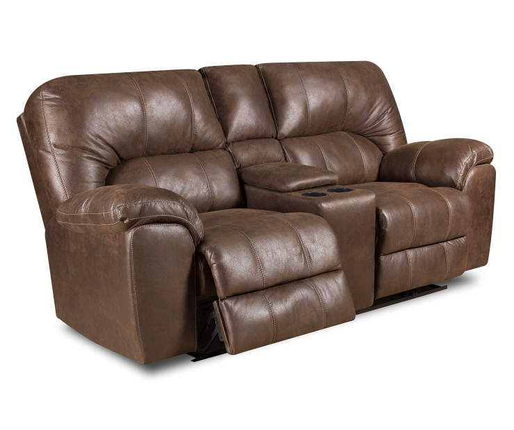 Best Stratolounger Stallion Brown Reclining Console Loveseat 640 x 480