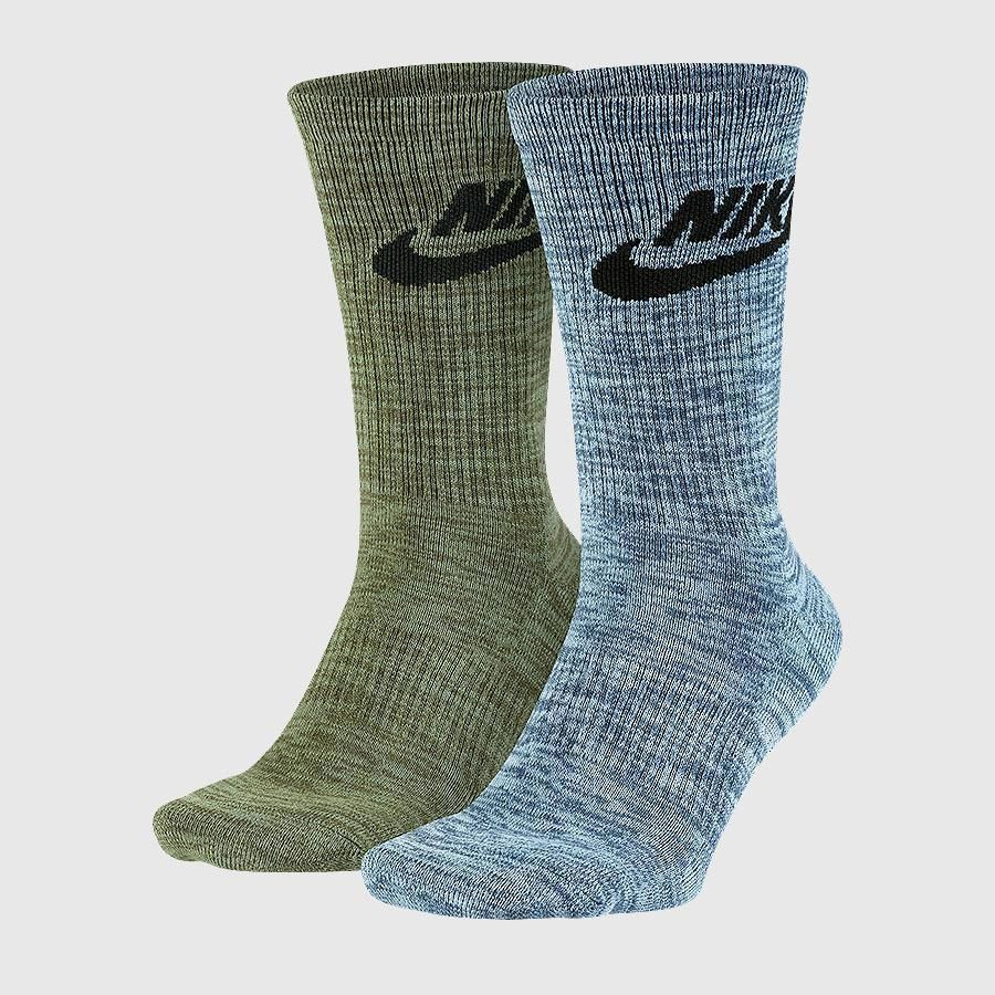 227bc788d Nike Mens 12-15 XL 2 Pack Swoosh Logo Crew Socks Green Blue SX5403-942 #Nike  #Casual
