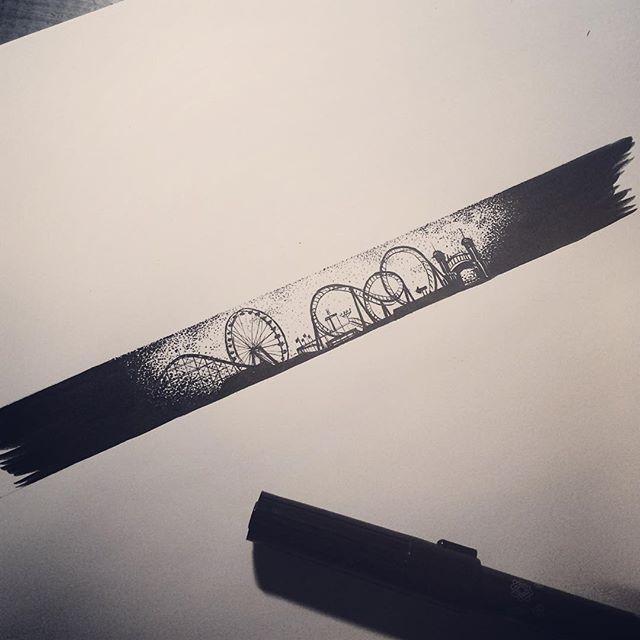 : amusement park . #tattoo #tattooistdoy #inkedwall #design #drawing #타투 #타투이스트도이 #amusement