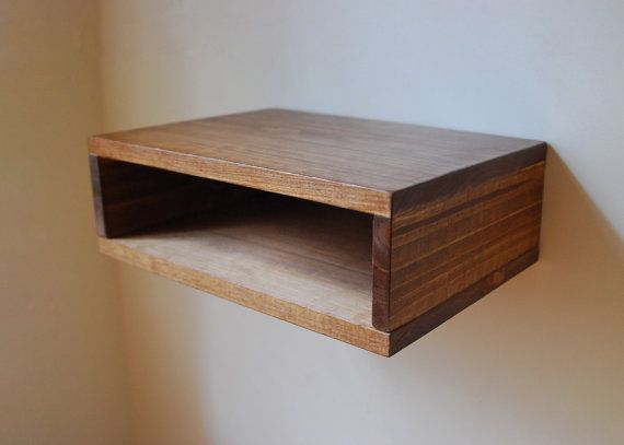 Floating Nightstand Wall Shelf Made From Reclaimed Wood Walnut Floating Nightstand Wall Shelves Reclaimed Wood