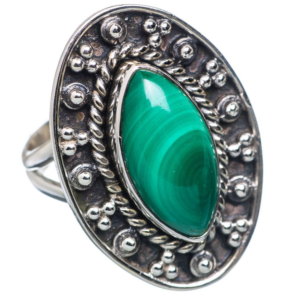 Malachite 925 Sterling Silver Ring Size 6 RING666445