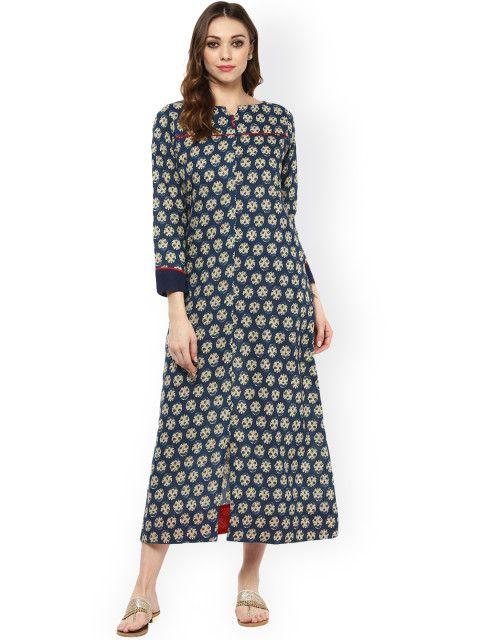 ce0b982f86 Buy Jaipur Kurti Women Navy Printed Midi Dress - Dresses for Women | Myntra
