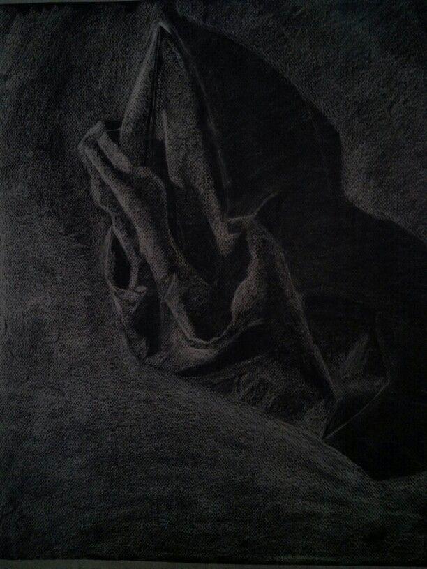Drapery study   White contè on black paper