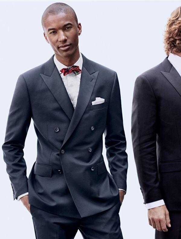 J Crew Men S Ludlow Double Breasted Tuxedo Jacket Bow Tie In Edward