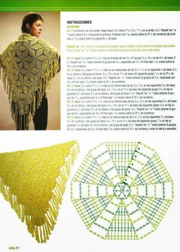 Un Chal tejido al crochet que se obtiene con hexágonos y se termina ...