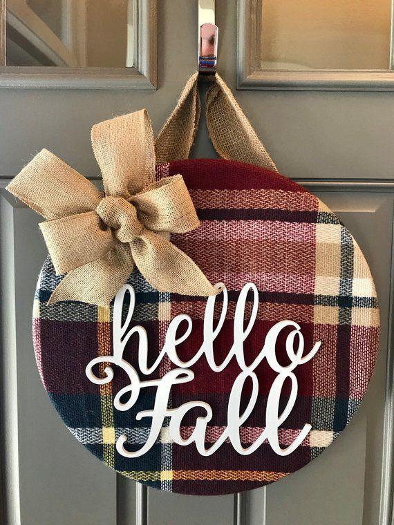 Photo of Items similar to Fall Wreath, Fall Door Hanger, Hello Fall, Fall Door Decor, Autumn Door Wreath, Plaid Decor, Front Door Decor, Door Decoration, Fall Decor on Etsy