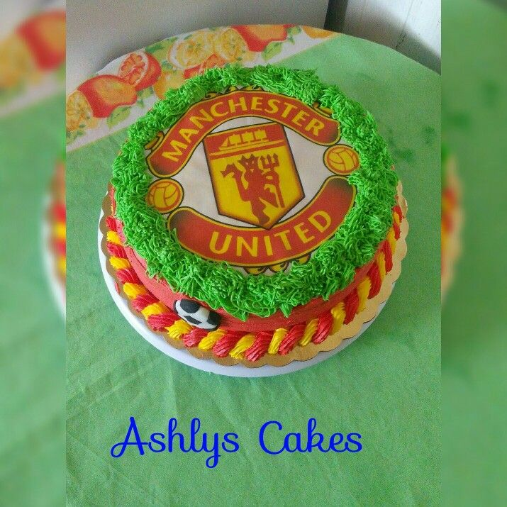 Manchester United Cake Buttercream Manu Mcuf Red And Yellow Manchester United Cake Cake Butter Cream