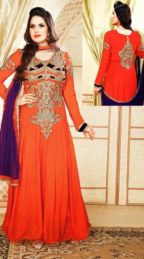 ee1aef2721 Zarine Khan In Orange Salwar Kameez YS700342 | Zarine Khan Salwar ...